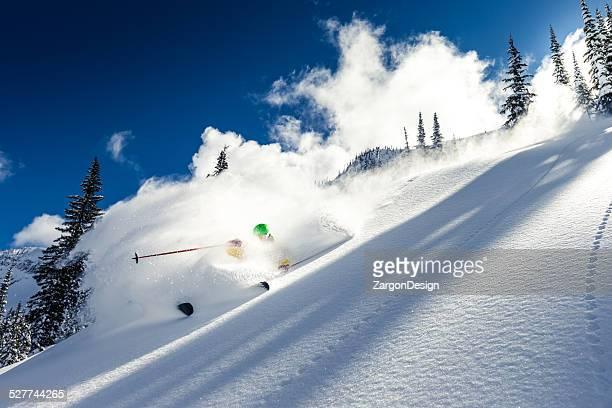 heli-esqui - neve seca e solta - fotografias e filmes do acervo
