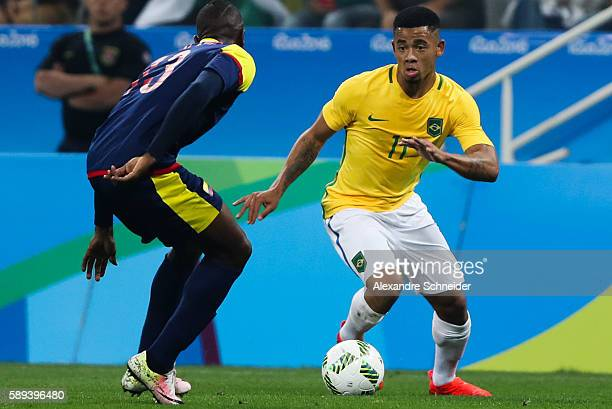 Helibenton Palacios of Colombia and Gabriel Jesus of Brazil sin action during the match between Brazil and Colombia mens football quarter final at...