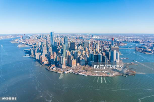 Helicopter aerial view of Manhattan island and harbor