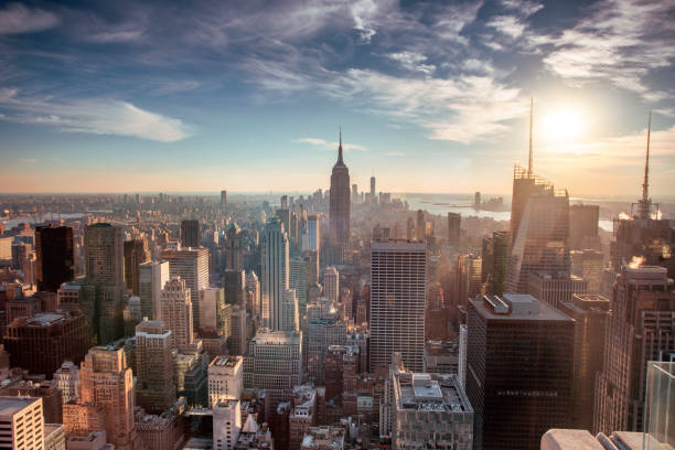 helicopter aerial view of new york city - america stock pictures, royalty-free photos & images