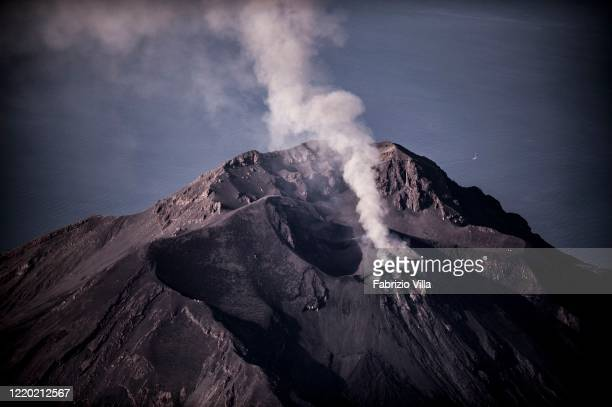 Helicopter aerial view of the summit of the Stromboli volcano during a gas emission and explosions on April 06 2019 in Stromboli Italy