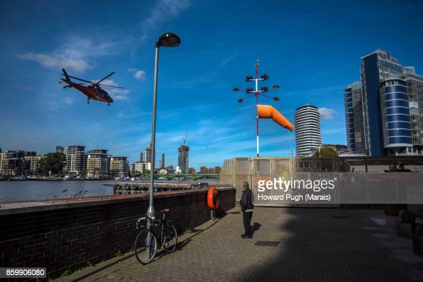 Helicopter Aerial Views - One man spectator & his bicycle