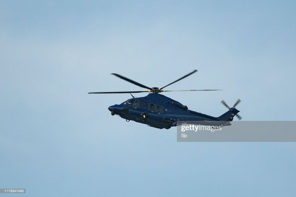 Helicopter Agusta-Westland AW139 PH-PXY of the Dutch Police Aviation Service fitted with camera's for surveillance : Stock Photo