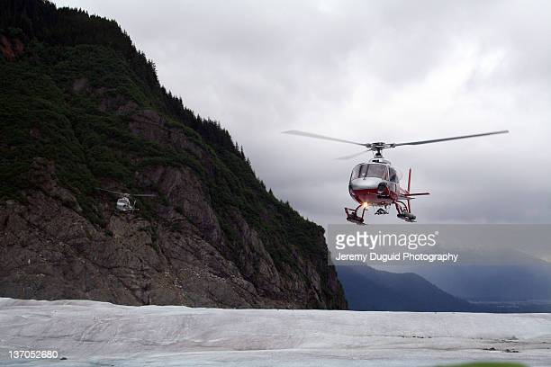 Helicopter arrival on Mendenhall Glacier