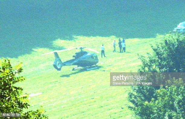 A helicopter arrives at Ashcombe House Estate in Wiltshire the home of Madonna and Guy Ritchie The American pop superstar suffered serious injuries...