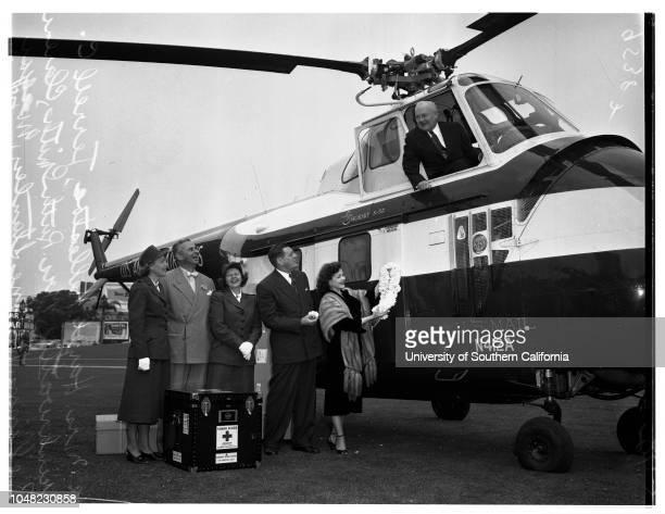 Helicopter at Ambassador Hotel 09 April 1952 Ashton Stanley Mayor Fletcher BowronHelen StanleyHazel HellestoeTerrell DrinkwaterMrs Ruth Smith Los...