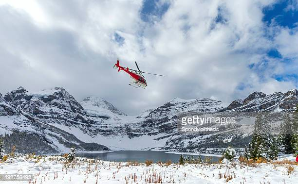 Helicopter at Assiniboine Lodge and Magog Lake
