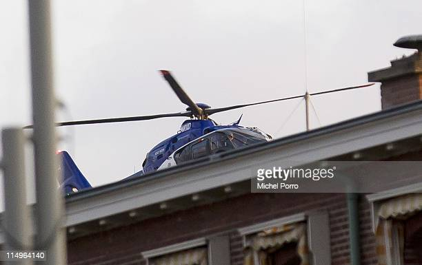 A helicopter believed to be involved in the extradition transfer of of the former Bosian Serb general Ratko Mladic comes into land near the UN...