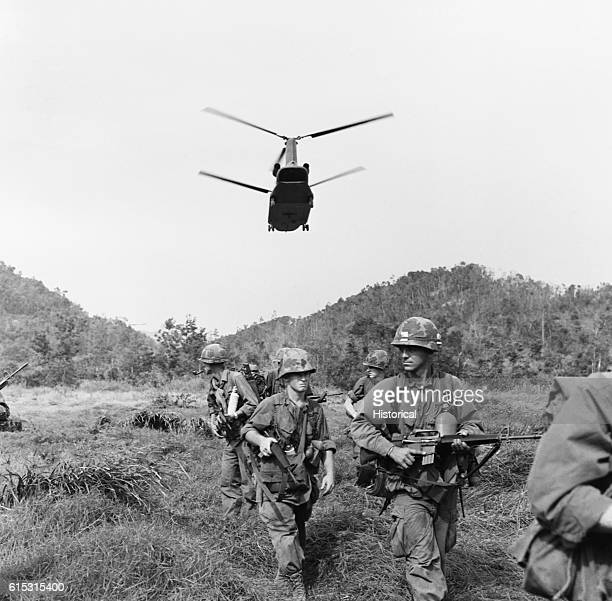 A CH47 helicopter brings in more troops to a combat area Vietnam 1967
