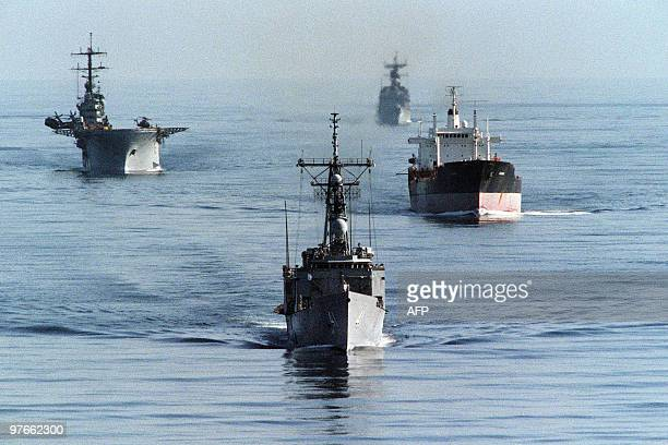 Helicopter carrier USS Okinawa enters the Gulf November 26 to replace the USS Guadalcanal which has been in the Gulf since July 1987, off the coast...