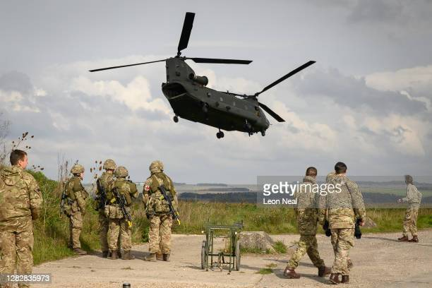 Helicopter carries senior military personnel around the active area during the Mission Rehearsal Exercise ahead of the UK Task Group deployment to...