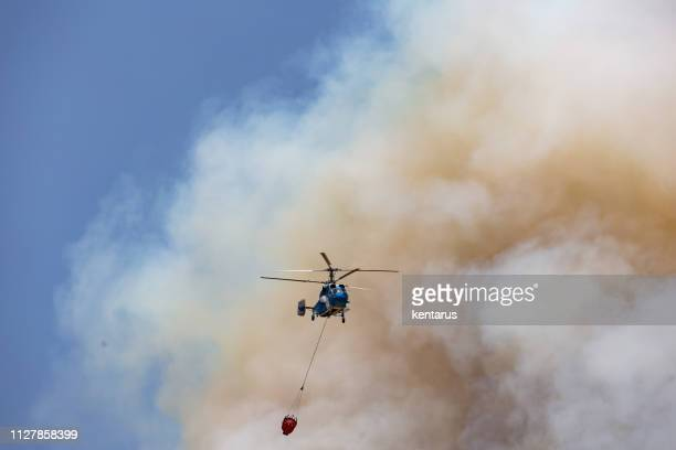 Helicopter carrying water tank for fire fighting