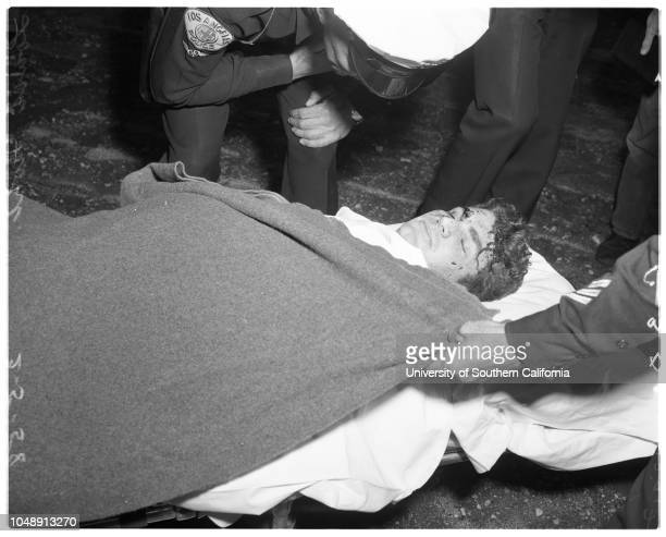 Helicopter crash 5 February 1958 Charles Green injuredLouis Nohl Caption slip reads 'Photographer Glickman Date Reporter Brown Assignment Helicopter...