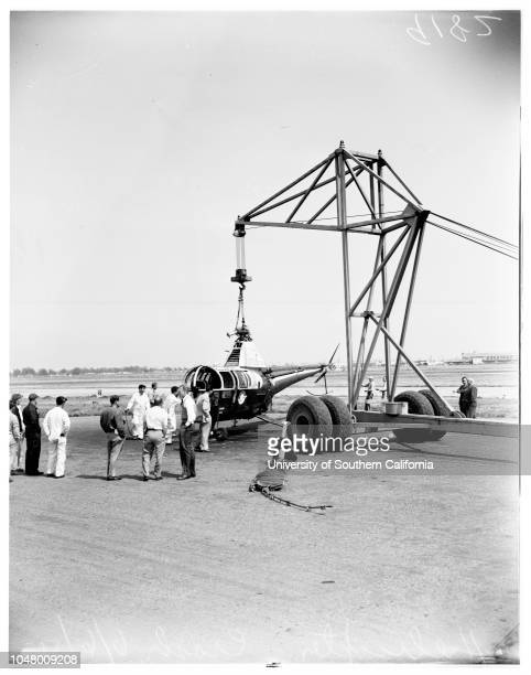 Helicopter crash June 6 1951 Views of Los Angeles Airways helicopter after crashing on Heliport at Los Angeles AirportMore descriptive information...