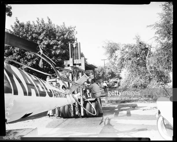 Helicopter crash near school yard at Justan Avenue and Fairfield Street in Glendale 7 July 1958 KABC Radioowned helicopter which makes daily traffic...