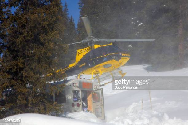A helicopter delivers snowsport enthusiests to the summit for a premium price at Silverton Mountain on March 12 2010 in Silverton Colorado Silverton...