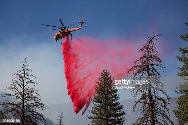 A helicopter drops fire retardant in a remote section of the San Bernardino National Forest during the Blue Cut Fire on August 18 2016 near...