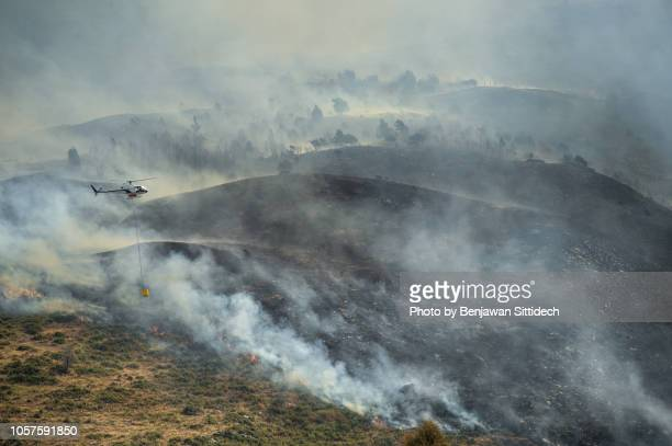 helicopter dumping water on forest fire. firefighting aircraft - natural disaster stock pictures, royalty-free photos & images