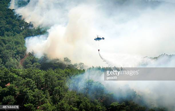 Helicóptero apague un incendio forestal