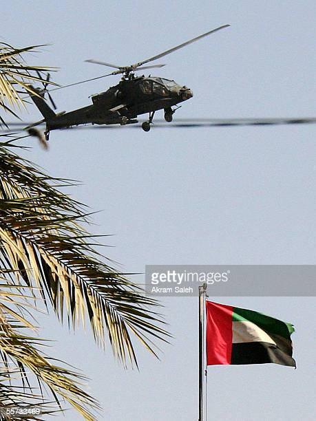 S helicopter flies over the United Arab Emirates embassy in Baghdad where a gun battle erupts between US/Iraqi forces and insurgents on September 21...