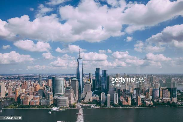 aerial view manhattan new york from