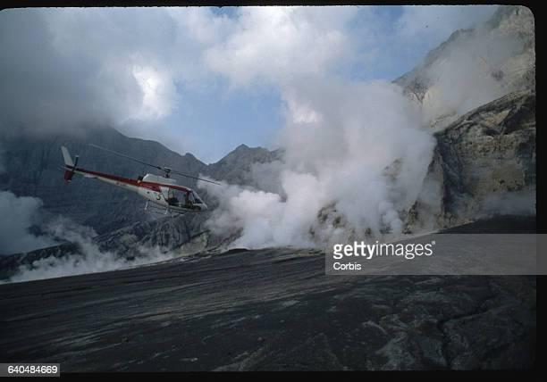 Helicopter Flying in Pinatubo's Caldera