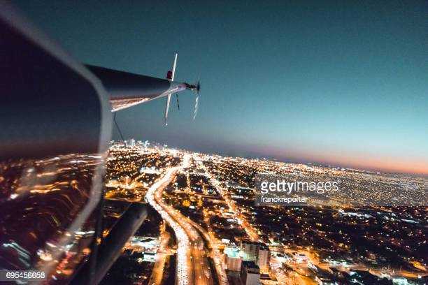 helicopter flying over the downtown miami