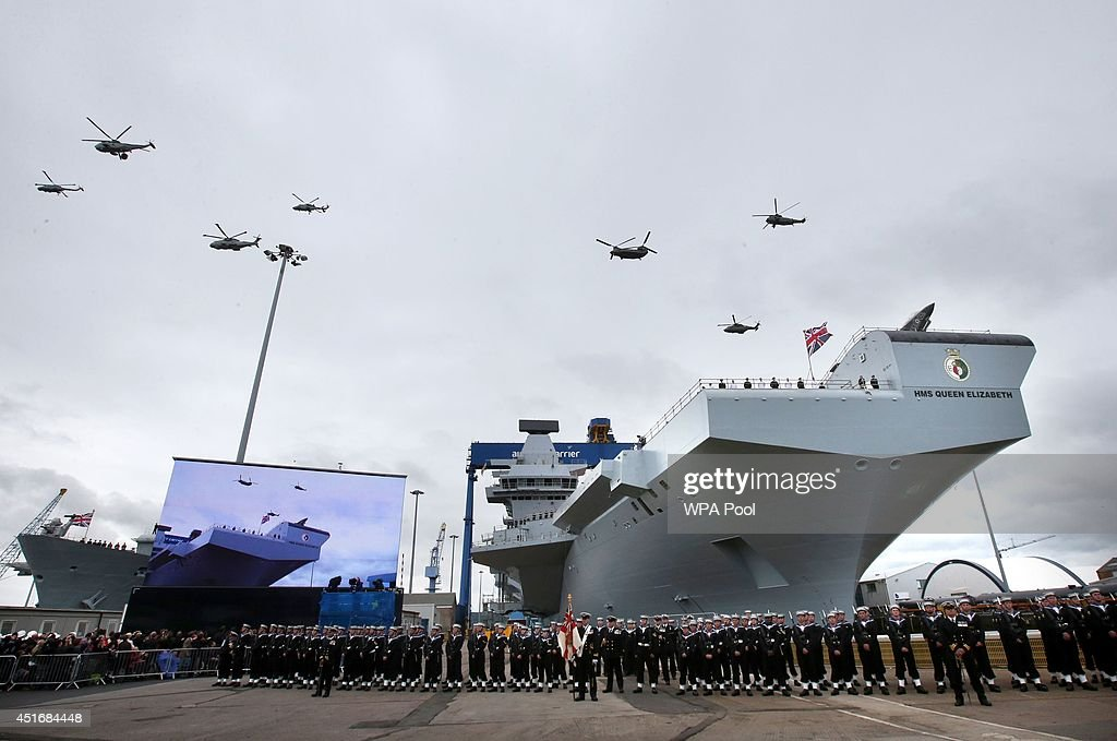 Queen Elizabeth II Names The New Aircraft Carrier HMS Queen Elizabeth : News Photo