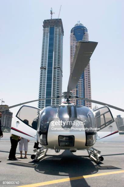 Helicopter for aerials of Dubai United Arab Emirates Alpha Tours Falcon Aviation Services press conference July 2007