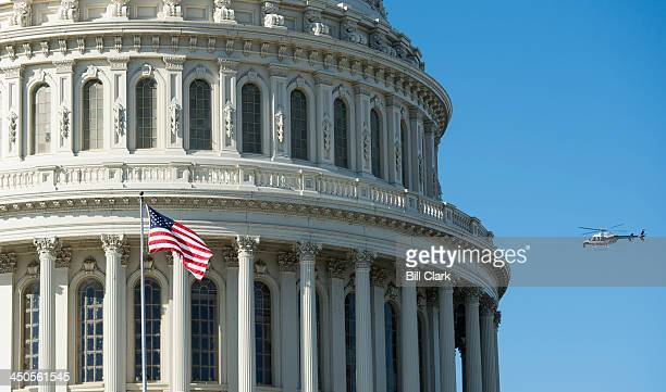 A helicopter hover around the US Capitol in support of an upcoming Architect of the Capitol construction project on Tuesday Nov 19 2013