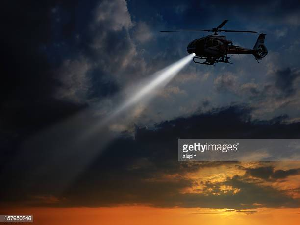 helicopter in dusk - helicopter photos stock pictures, royalty-free photos & images