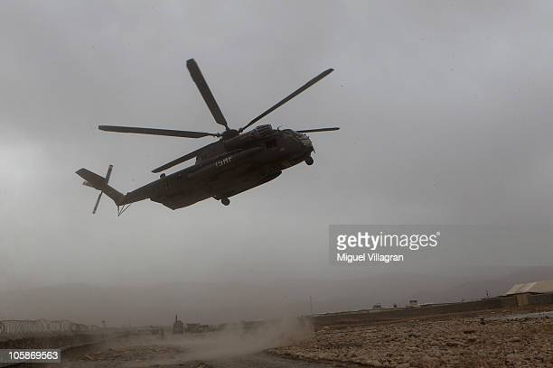 CH 53 helicopter lands at the PRT Feyzabad on October 14 2010 in Feyzabad Afghanistan Badakhshan province was free of Taliban until about a year ago...