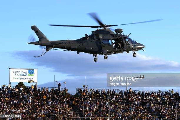 A helicopter lands during the round three Super Rugby match between the Hurricanes and the Brumbies at Central Energy Trust Arena on March 01 2019 in...