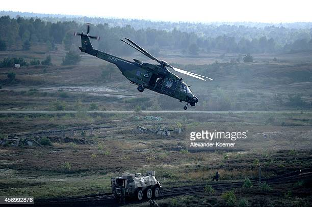 Helicopter lifts off after an evacuation of an injured soldier during an exercise in Munster prior the arrival of German Defense Minister Ursula von...
