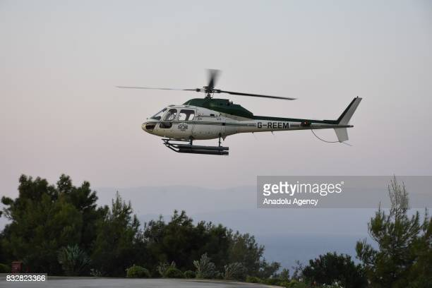 Helicopter of Saudi Prince AlWaleed Bin Talal bin Abdulaziz al Saud arrives to land at hotel's helipad at Bodrum in Mugla Province of Turkey on...