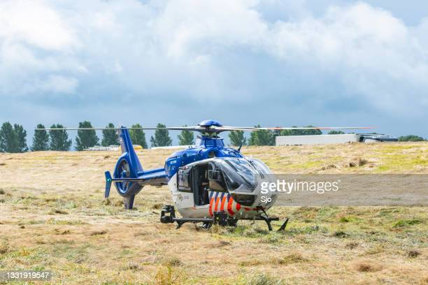 """helicopter of the dutch police aviation service landed in a field - """"sjoerd van der wal"""" or """"sjo"""" stock pictures, royalty-free photos & images"""