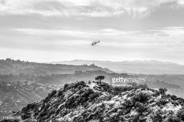 helicopter over hollywood hills - los angeles police department stock pictures, royalty-free photos & images