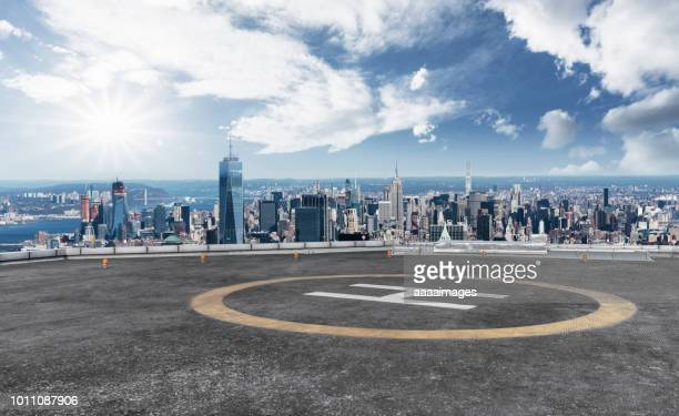helicopter parking front of world trade center - helipad stock photos and pictures