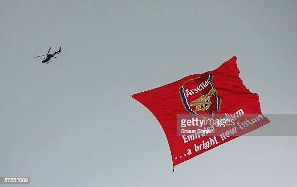 Helicopter passes overhead after the Barclays Premiership match between Arsenal and Wigan Athletic at Highbury on May 7 2006 in London England The...