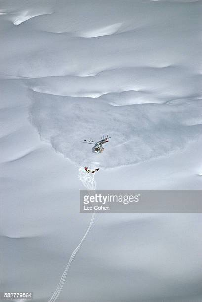 helicopter picking people up - chugach mountains stock pictures, royalty-free photos & images