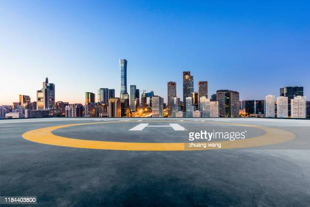 helicopter platform and city - wang he stock pictures, royalty-free photos & images