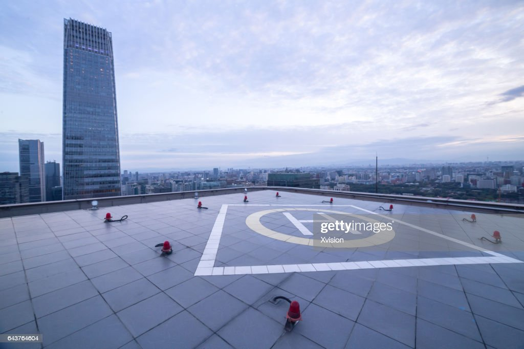 helicopter platform with modern skyscraper as background in Beijing CBD area : Stock Photo