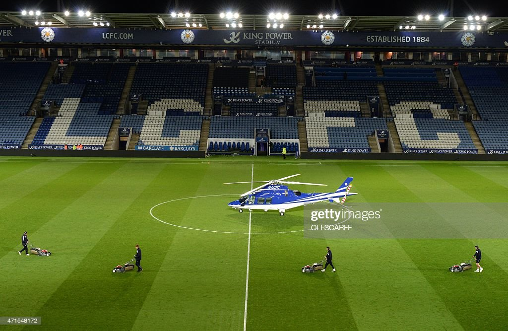 A helicopter reportedly owned by Vichai Srivaddhanaprabha, the owner of Leicester City football club lands on the pitch after the English Premier League football match between Leicester City and Chelsea at King Power Stadium in Leicester, central England on April 29, 2015. USE. No use with unauthorized audio, video, data, fixture lists, club/league logos or live services. Online in-match use limited to 45 images, no video emulation. No use in betting, games or single club/league/player publications.