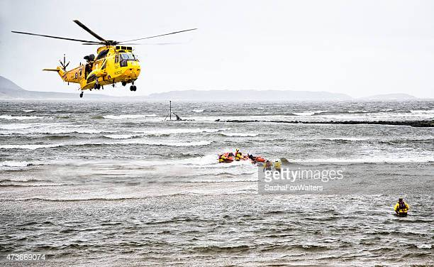 helicopter rescue at sea - rescue stock pictures, royalty-free photos & images
