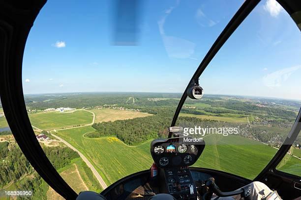 Hubschrauberflug. Fischaugen-ansehen