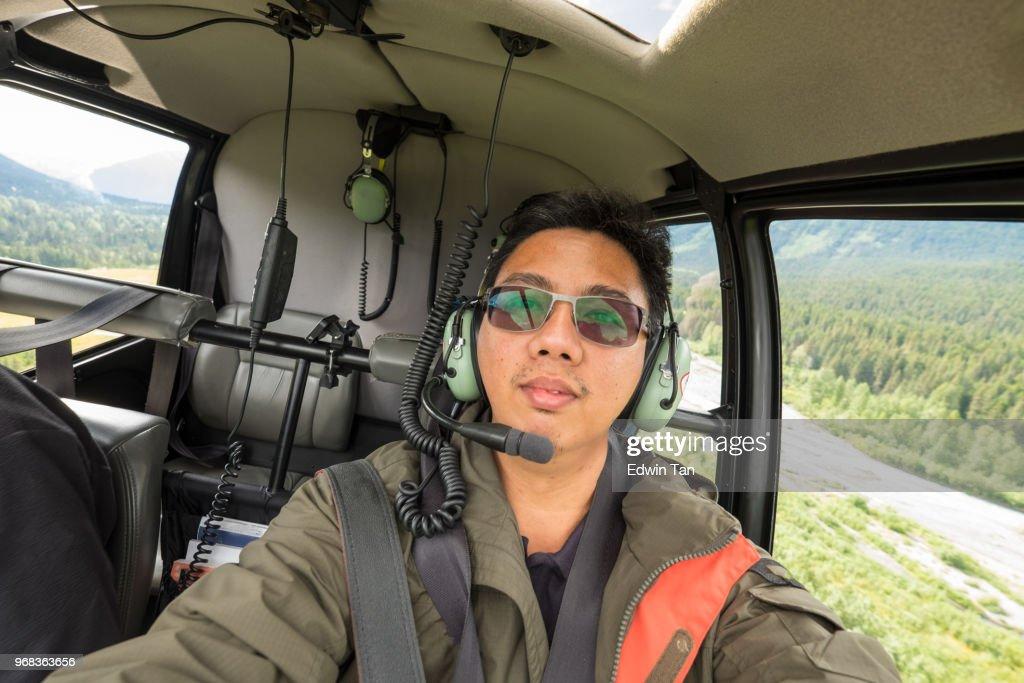 helicopter ride to glacier snow mountain in alaska , usa : Stock Photo