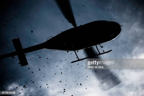 Helicopter scattering dirt seen from below