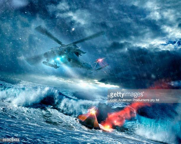 Helicopter searching for space capsule in stormy seas