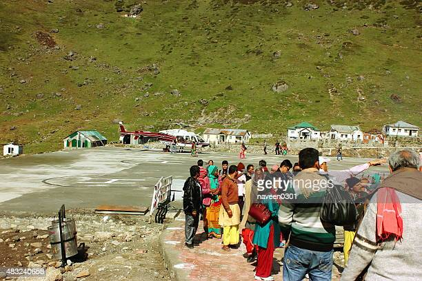 helicopter (chopper) service at uttarakhand in himalaya - uttarakhand stock pictures, royalty-free photos & images