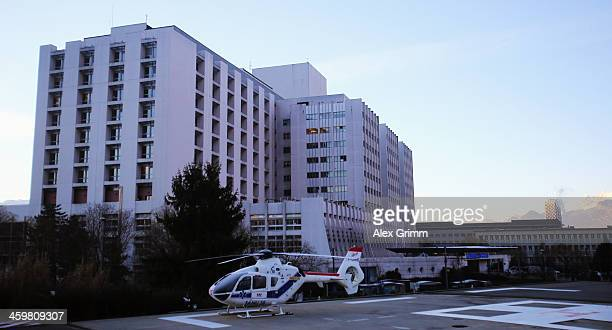 A helicopter stands outside the Grenoble University Hospital Centre where former German Formula One driver Michael Schumacher is being treated for a...